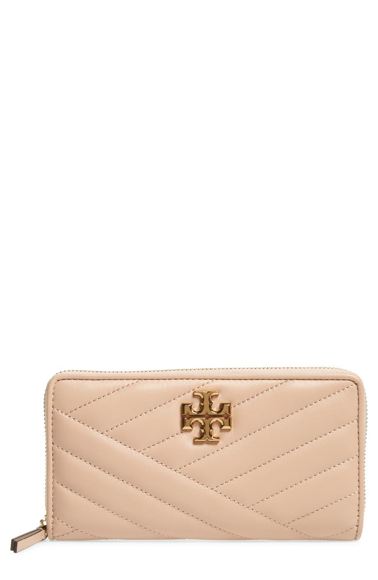TORY BURCH Kira Chevron Quilted Zip Leather Continental Wallet, Main, color, DEVON SAND