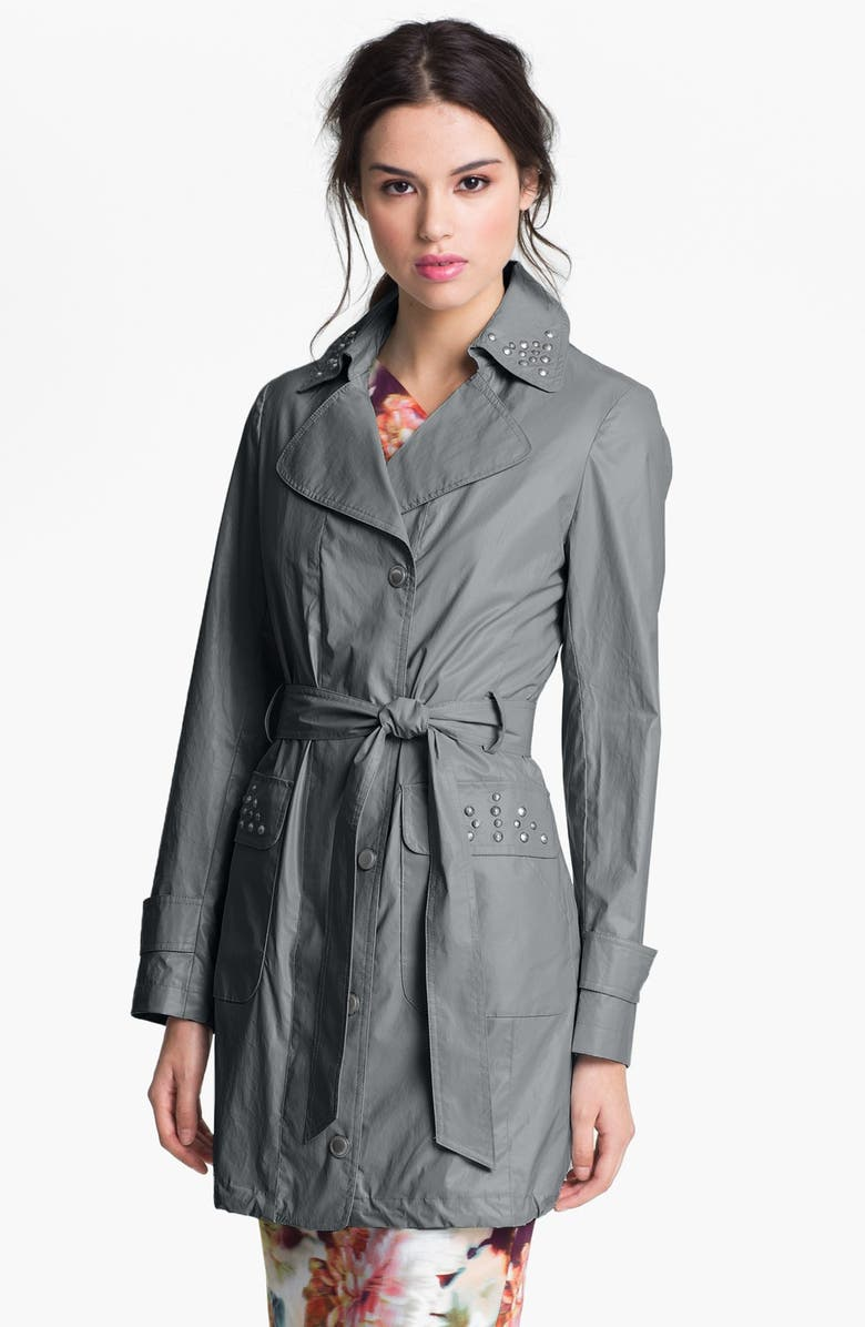 VIA SPIGA Studded Faux Leather Trench Coat, Main, color, SILVER