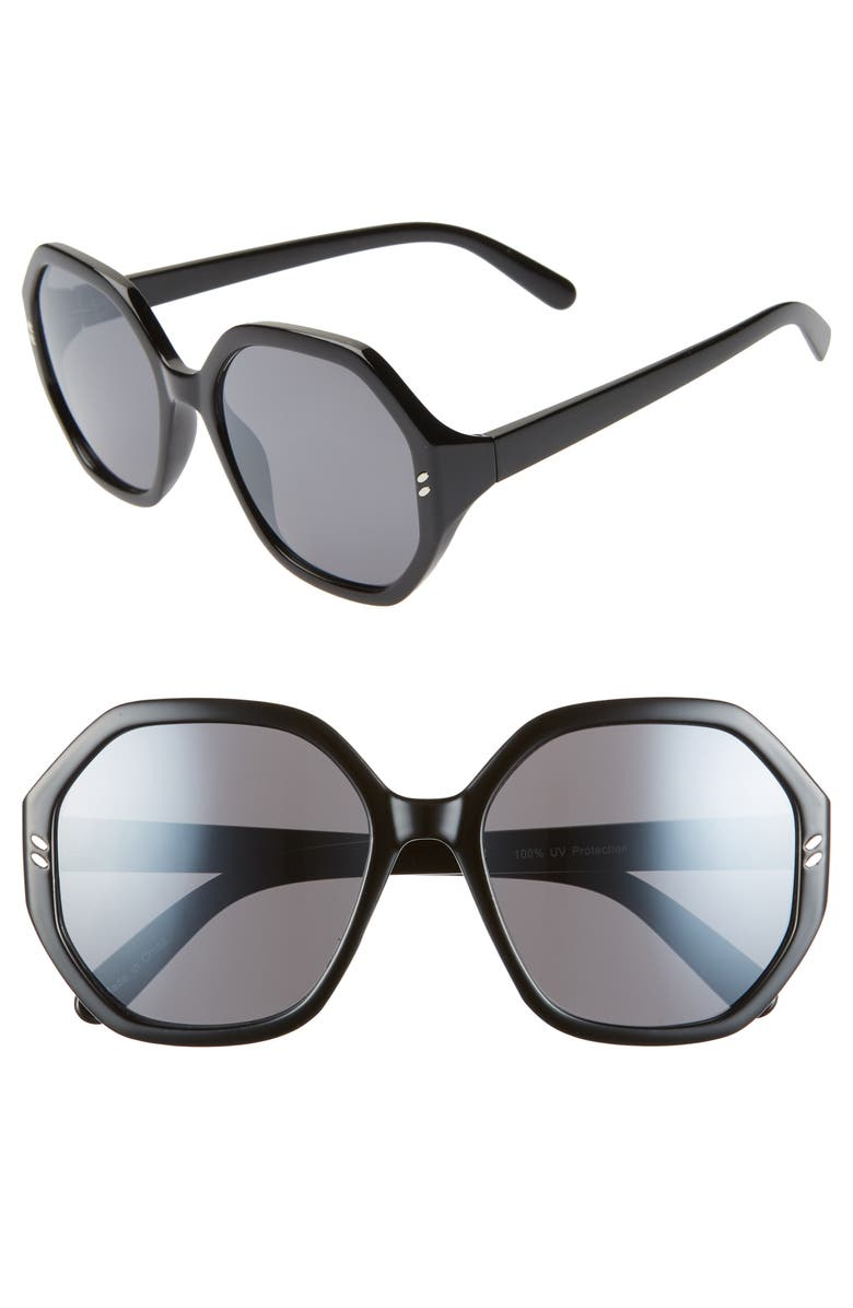 BP. 55mm Octagon Sunglasses, Main, color, 001