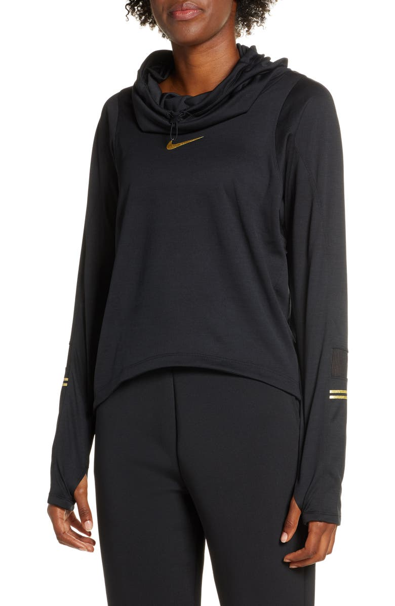 NIKE Glam Midlayer Funnel Neck Hoodie, Main, color, 001