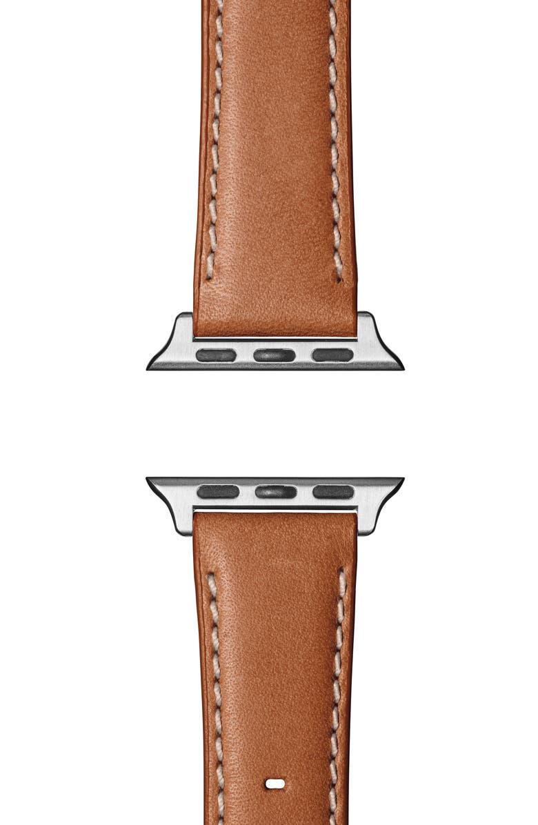 SHINOLA Aniline Leather Apple Watch<sup>®</sup> Strap, Main, color, LARGO TAN/ SILVER PLATING