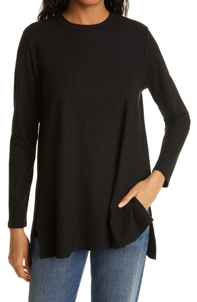 EILEEN FISHER Ribbed Organic Cotton Tunic, Main, color, BLACK