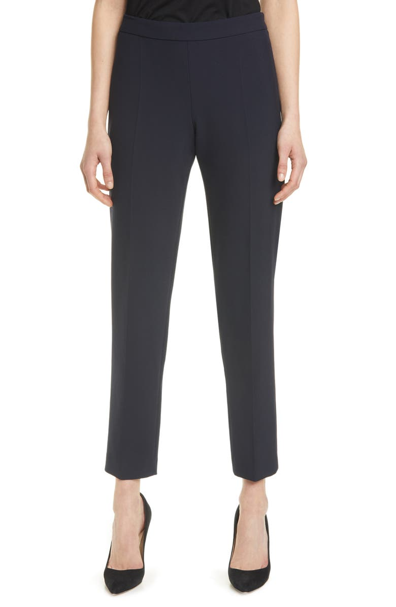 BOSS Tiluna Soft Stretch Side Zip Ponte Trousers, Main, color, MIDNIGHT