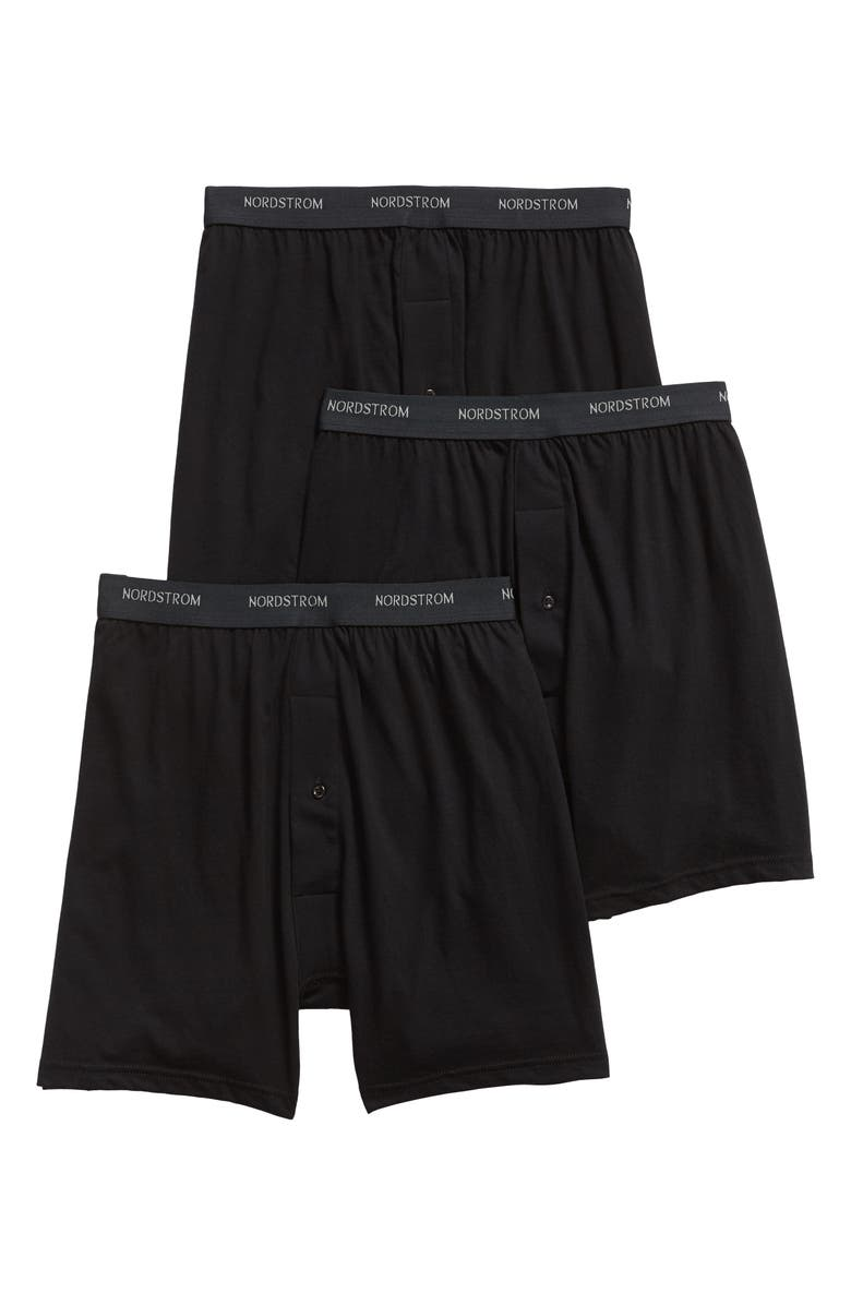 NORDSTROM 3-Pack Supima<sup>®</sup> Cotton Boxers, Main, color, BLACK