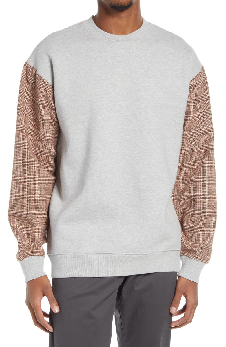 ZANEROBE Men's Mixed Media Sweatshirt, Main, color, SILVER / TIMBER