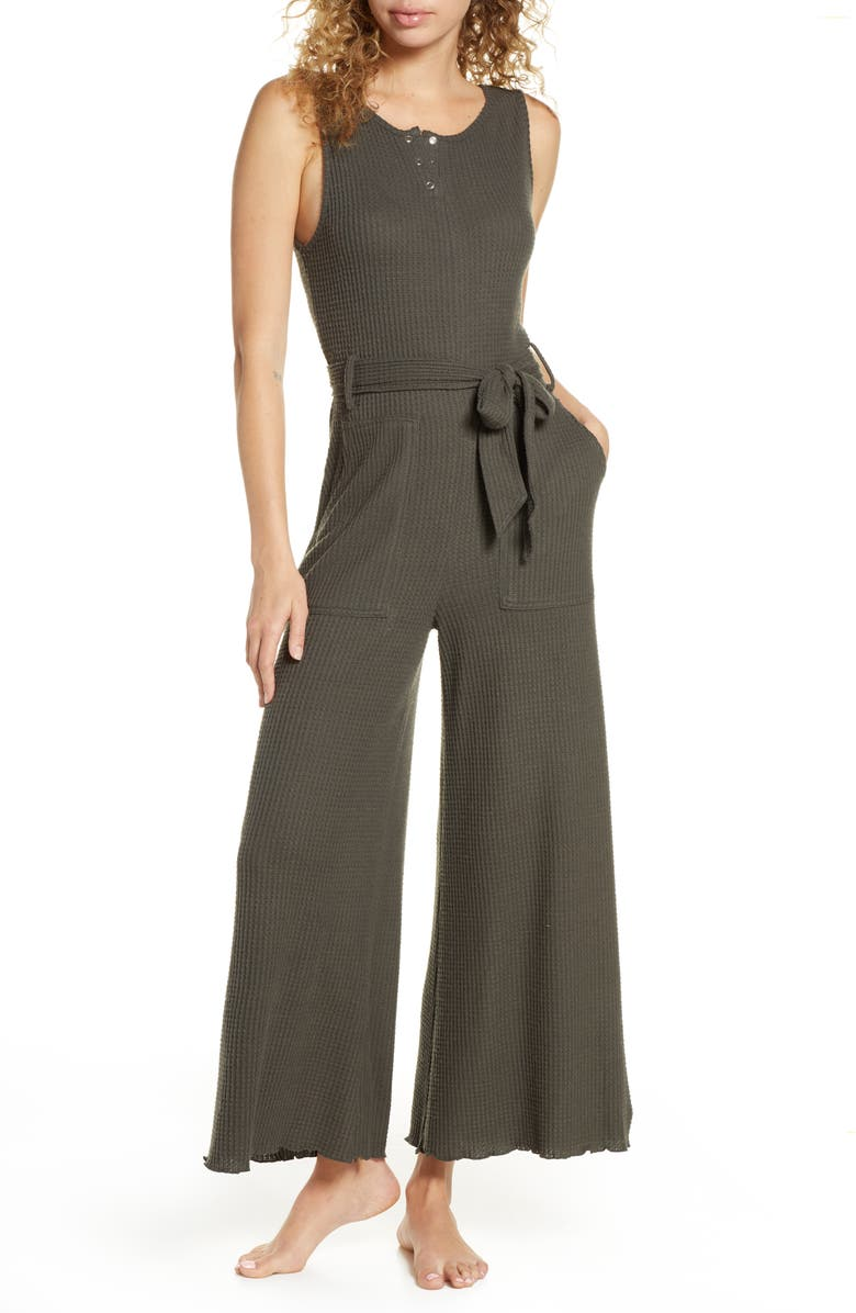 BP. Belted Waffle Knit Henley Jumpsuit, Main, color, 021