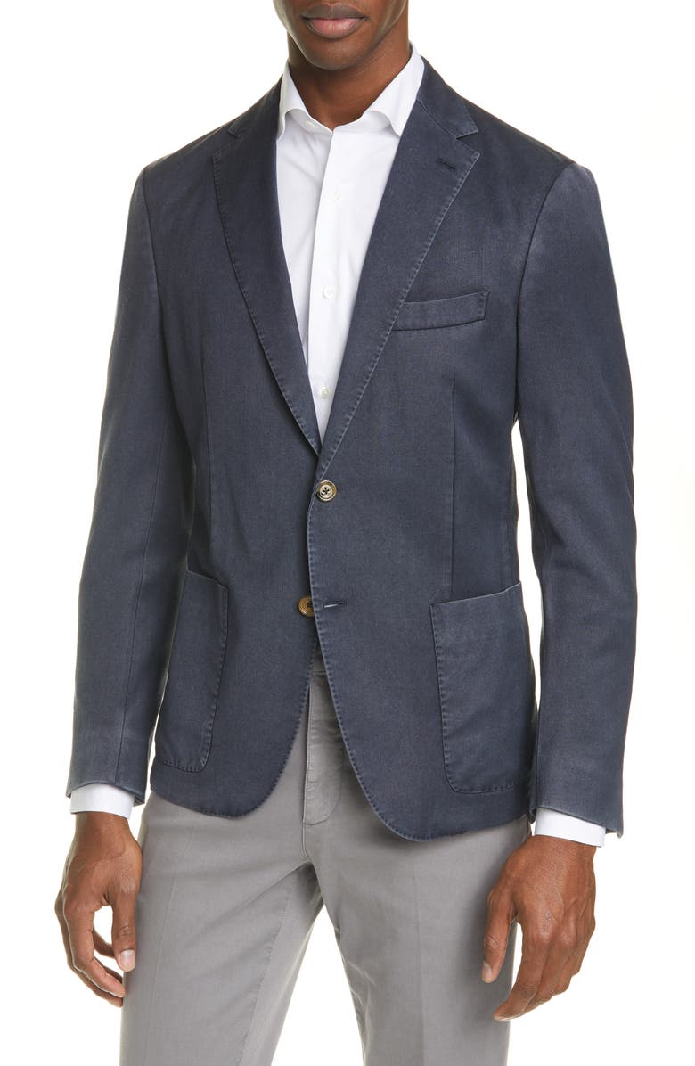 ELEVENTY Trim Fit Washed Wool Sport Coat, Main, color, 410