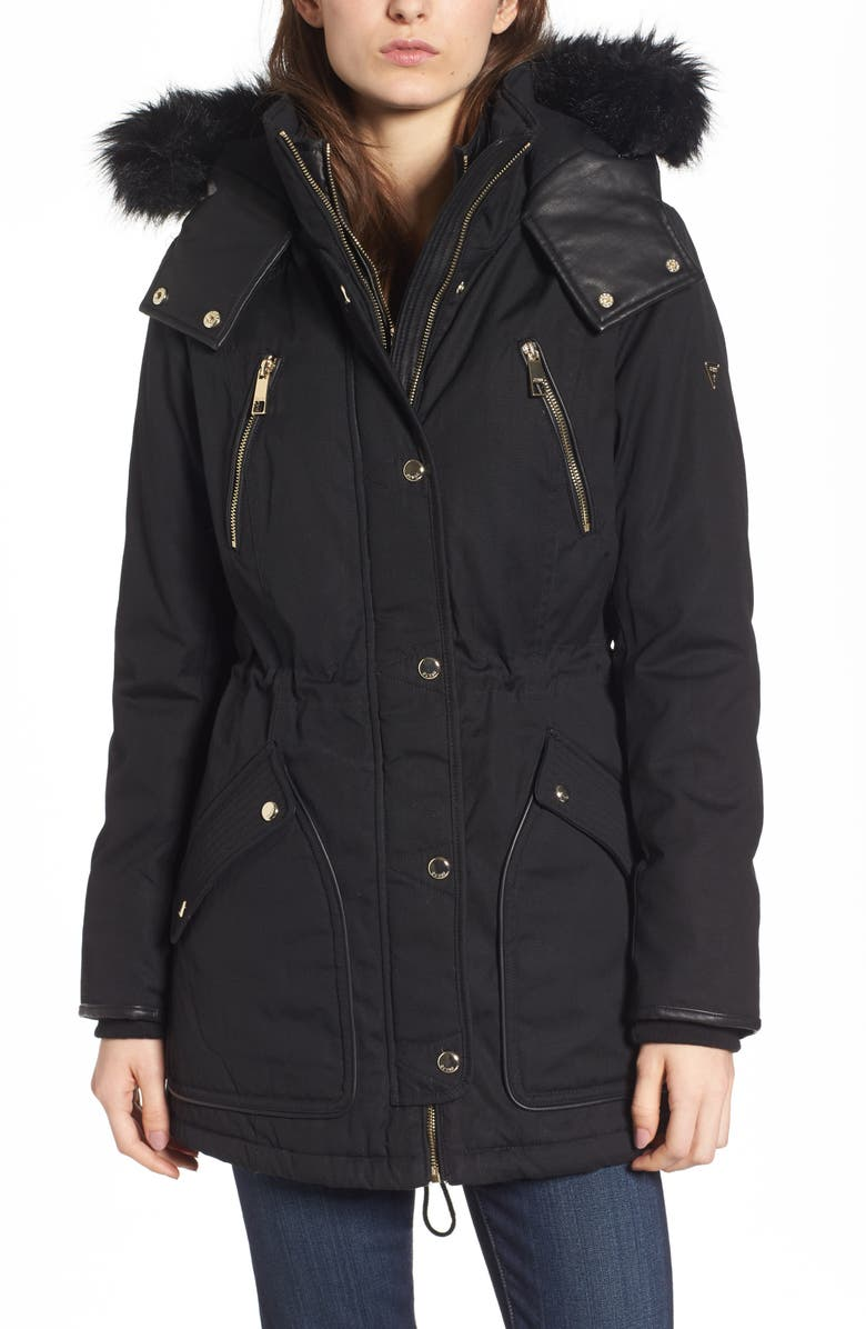 GUESS Hooded Anorak with Detachable Faux Fur, Main, color, Black