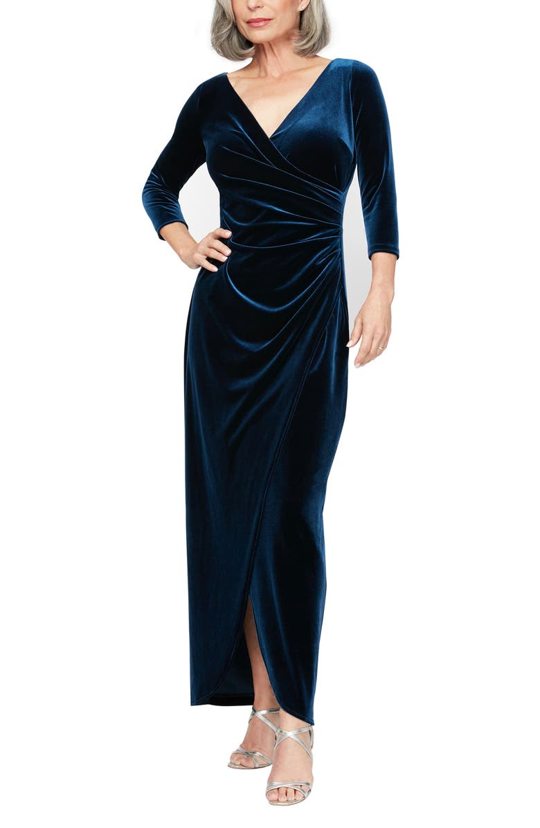 ALEX EVENINGS Surplice Neck Velvet Gown, Main, color, IMPERIAL