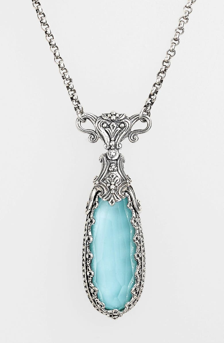 KONSTANTINO 'Aegean' Teardrop Pendant Necklace, Main, color, SILVER/ TURQUOISE