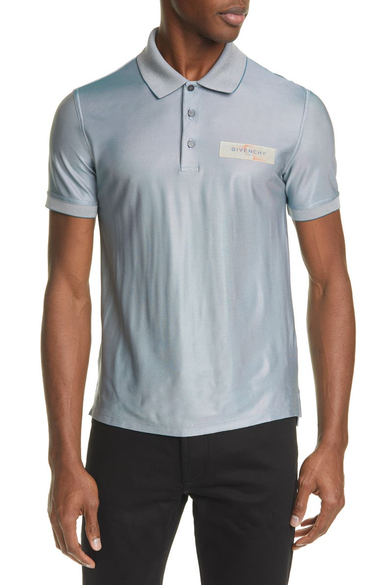 GIVENCHY Slim Fit Stretch Short Sleeve Polo, Main, color, GREY