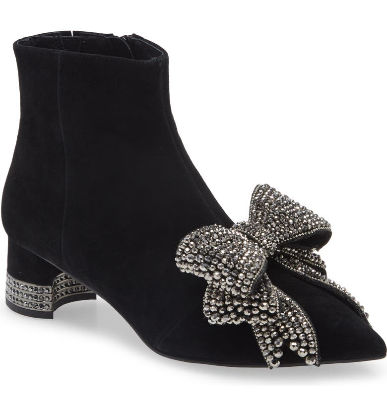 JEFFREY CAMPBELL Luci Embellished Bow Bootie, Main, color, BLACK SUEDE PEWTER