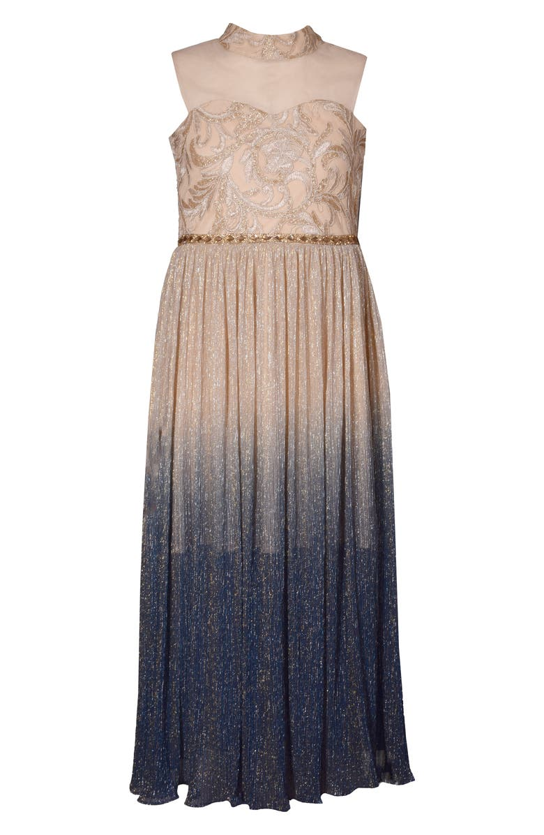 IRIS & IVY Metallic Ombré Mesh Gown, Main, color, 250