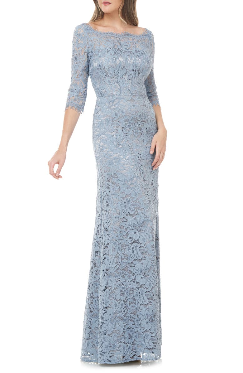 JS COLLECTIONS Lace Column Gown, Main, color, SOFT BLUE