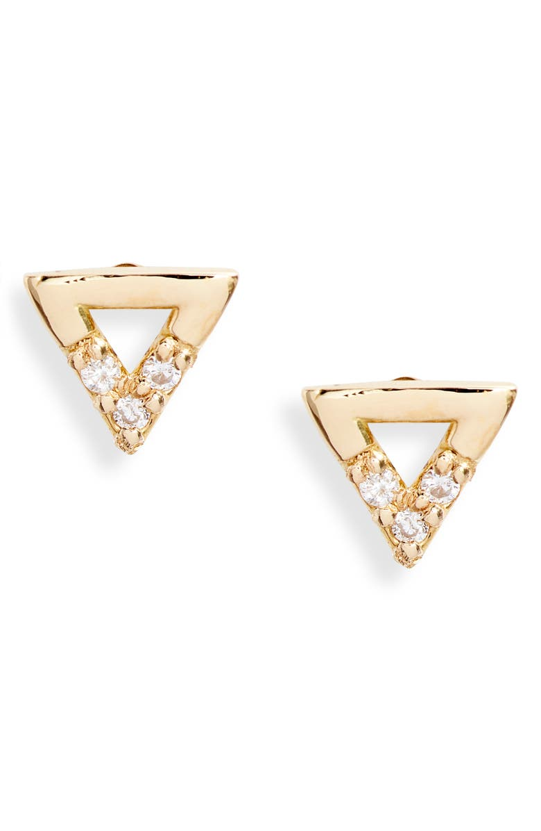 BONY LEVY Simple Obsession Petite Triangle Stud Earrings, Main, color, 710