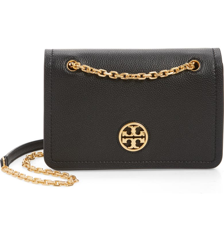 TORY BURCH Carson Convertible Leather Crossbody Bag, Main, color, 001