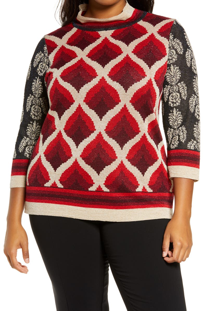 MARINA RINALDI Audrey Jacquard Sweater, Main, color, BORDEAUX