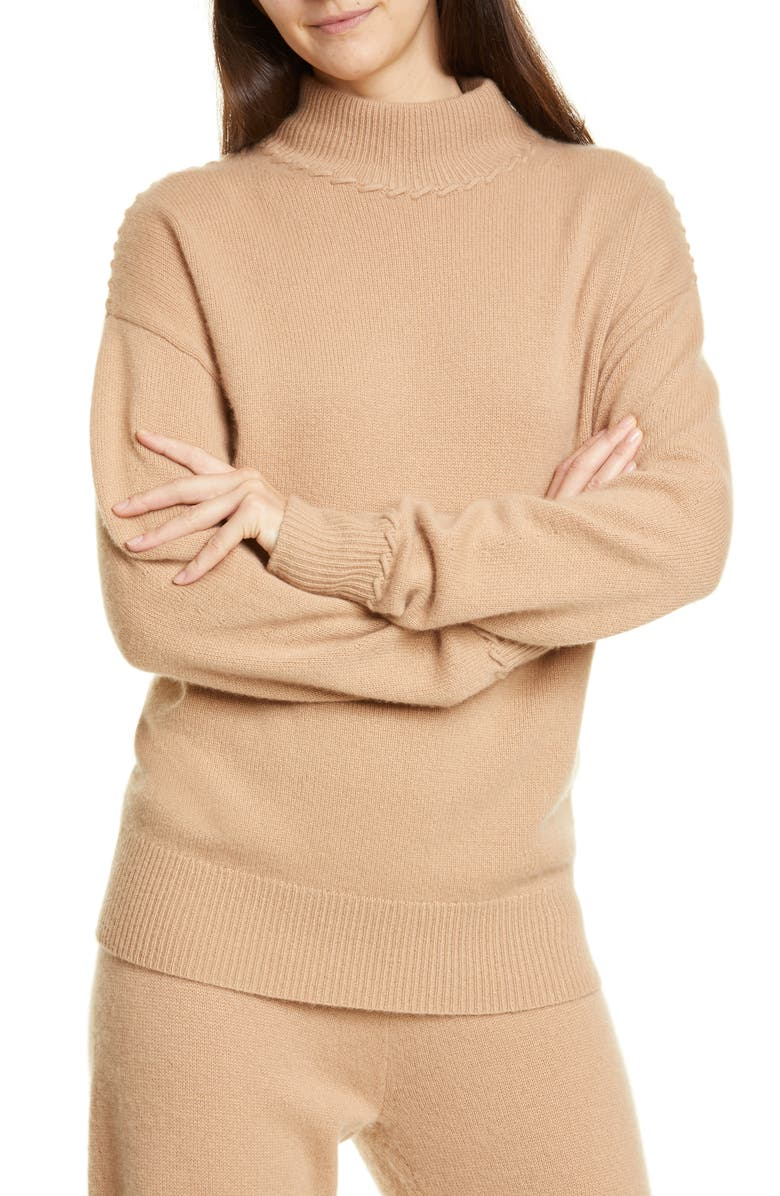 THEORY Whipstitch Mock Neck Cashmere Sweater, Main, color, 200