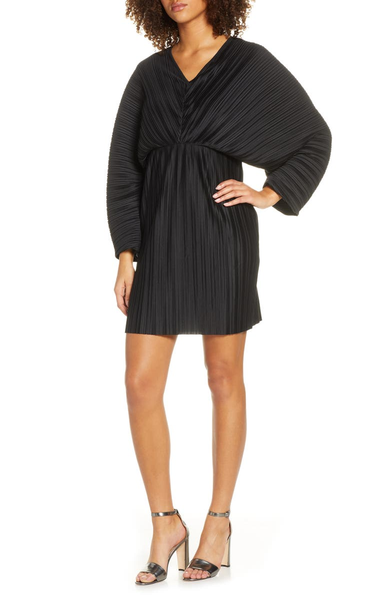 FRENCH CONNECTION Long Sleeve Crinkle Pleat Cocktail Dress, Main, color, 001