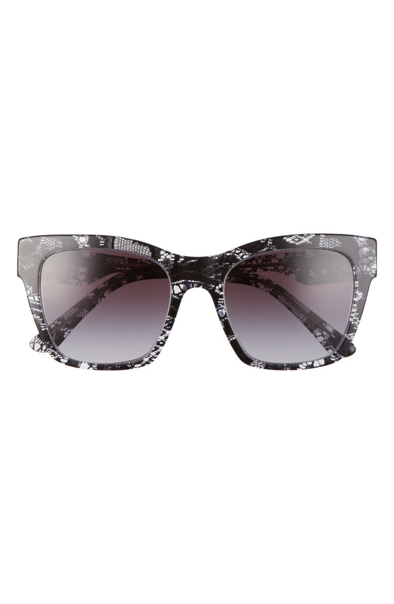 DOLCE&GABBANA 53mm Gradient Cat Eye Sunglasses, Main, color, BLACK LACE/ GREY GRADIENT