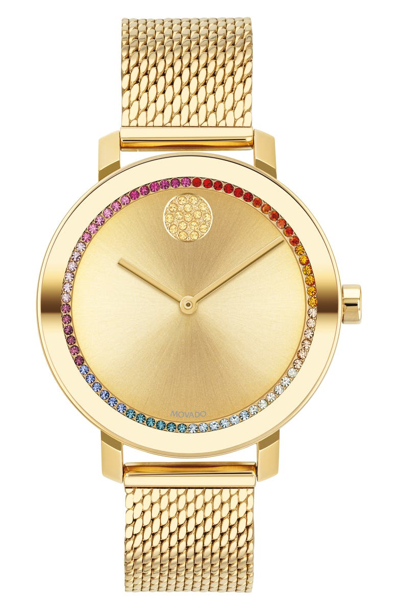 MOVADO Bold Evolution Mesh Strap Watch, 34mm, Main, color, GOLD/ MULTI