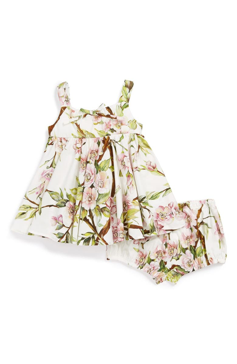 DOLCE&GABBANA Floral Print Sleeveless Dress & Bloomers, Main, color, WHITE/ GREEN