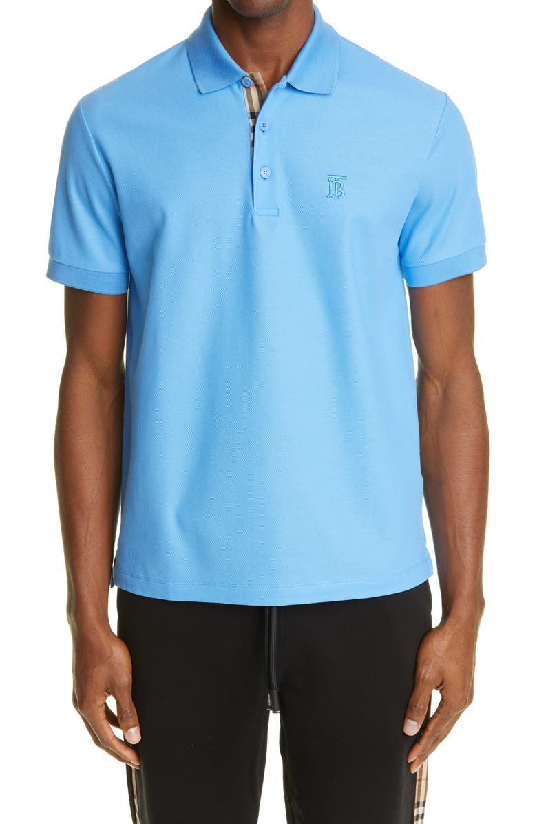 BURBERRY Eddie Piqué Polo, Main, color, VIVID COBALT