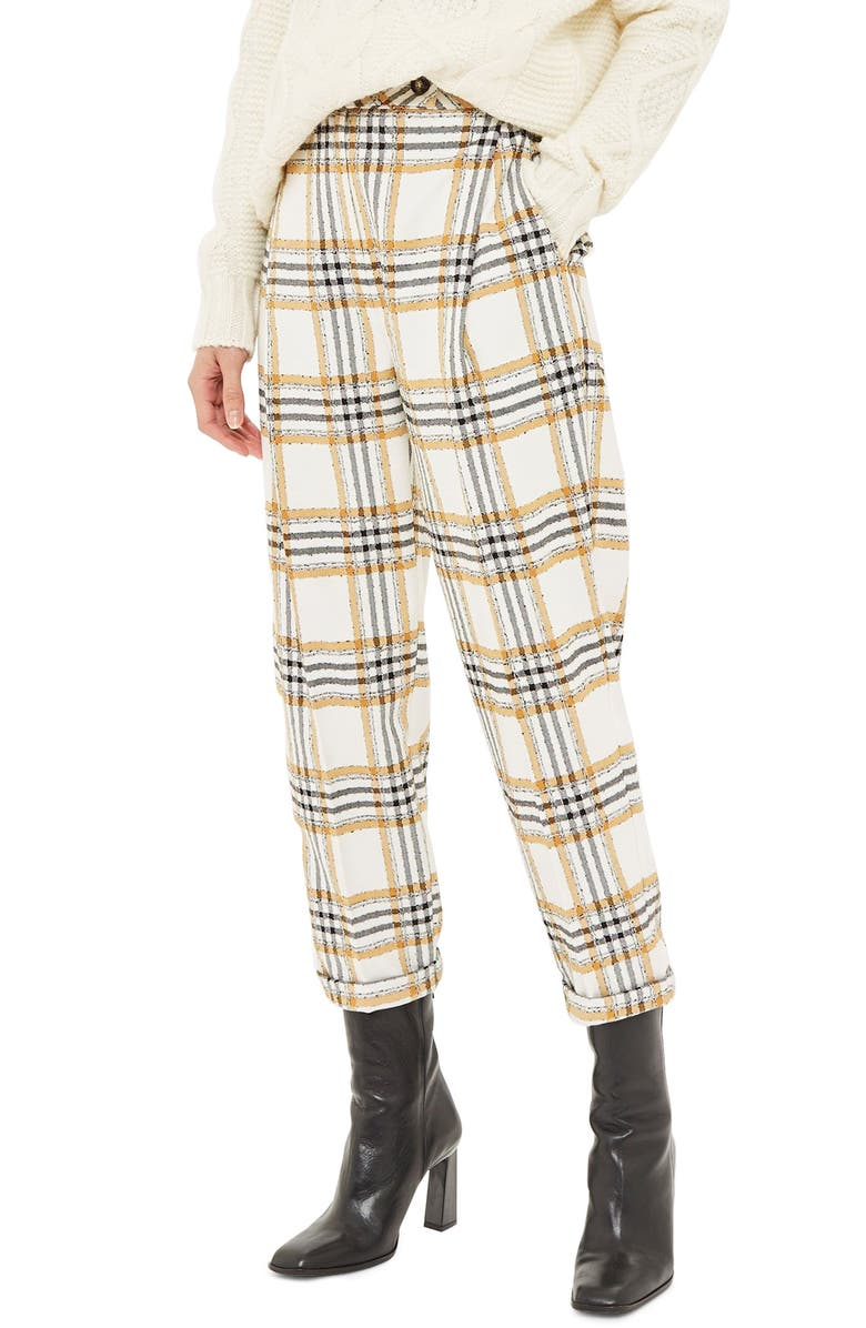 TOPSHOP Three Button Tapered Trousers, Main, color, 701