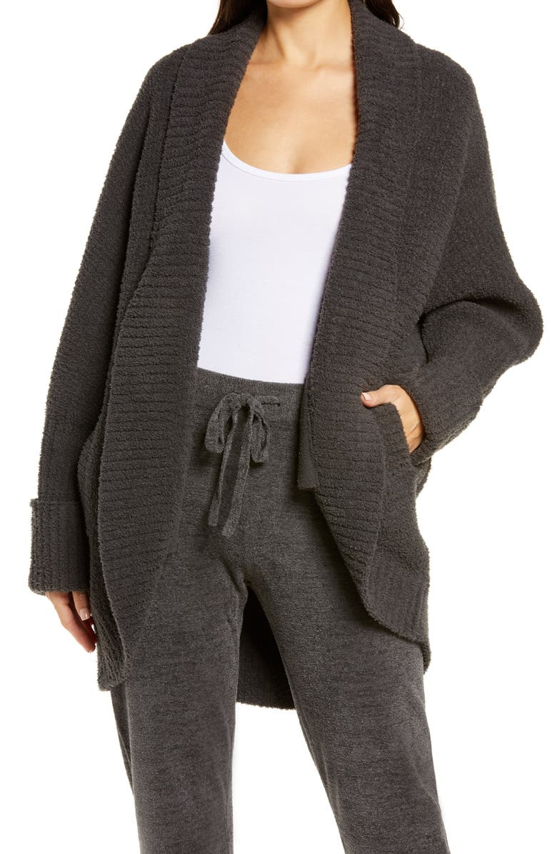 BAREFOOT DREAMS<SUP>®</SUP> Cozychic<sup>®</sup> Waffle Cocoon Cardigan, Main, color, CARBON