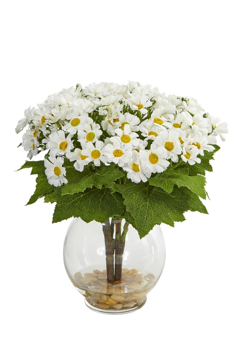 NEARLY NATURAL Daisy Artificial Arrangement in Fluted Vase - White, Main, color, WHITE
