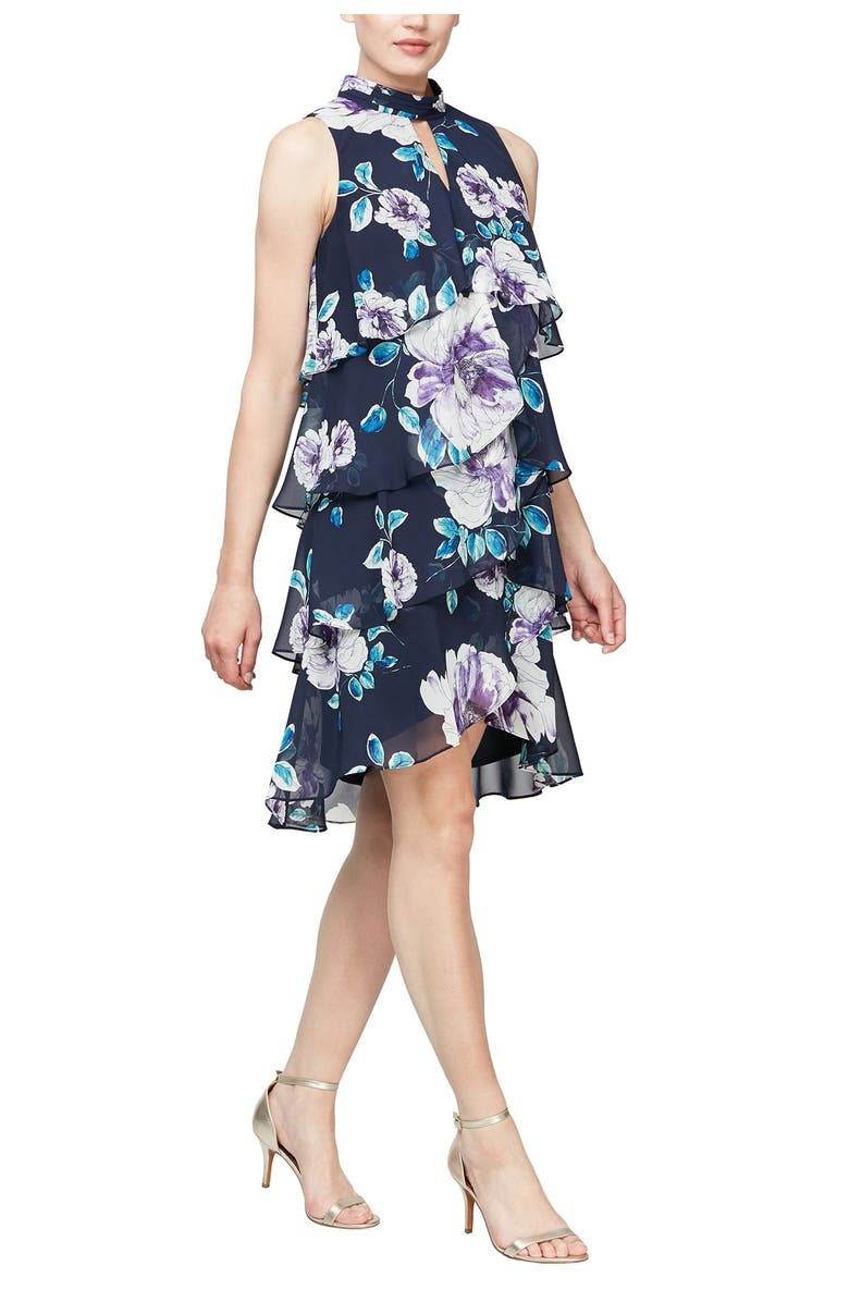 SLNY Floral Tiered Ruffle Dress, Main, color, NAVY MULTI