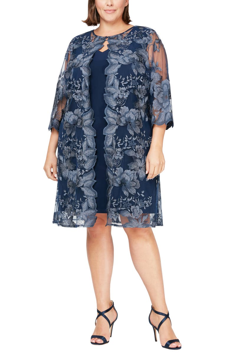 ALEX EVENINGS Embroidered Lace Mock Jacket Cocktail Dress, Main, color, NAVY
