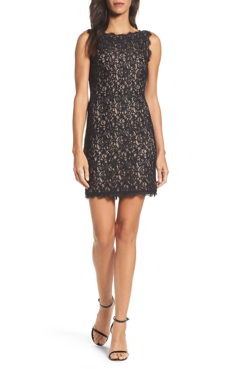 ADRIANNA PAPELL Boatneck Lace Sheath Dress, Main, color, 015