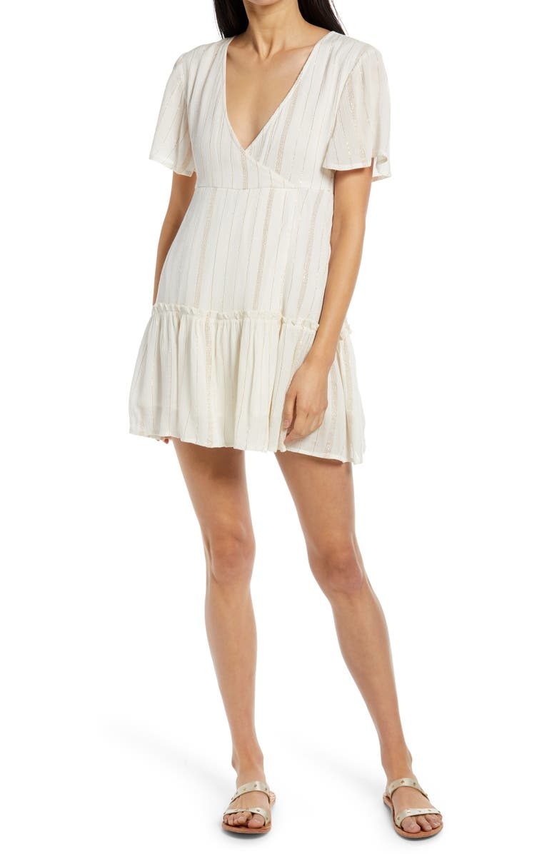 RAGA Metallic Stripe Crepe Minidress, Main, color, EGGSHELL