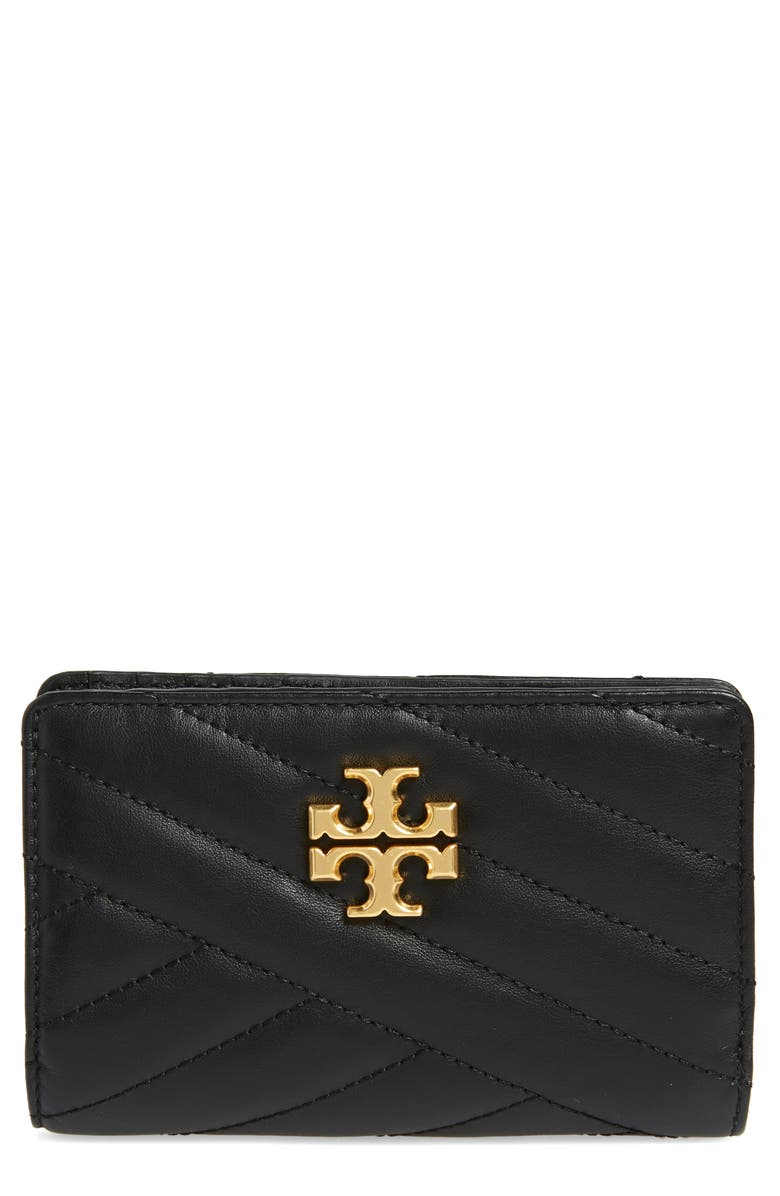 TORY BURCH Medium Kira Quilted Leather Wallet, Main, color, 001
