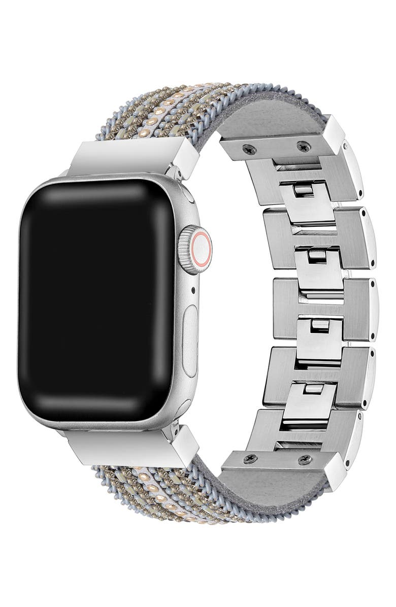 THE POSH TECH Beaded Bracelet Strap for Apple Watch<sup>®</sup>, Main, color, SILVER (38MM)
