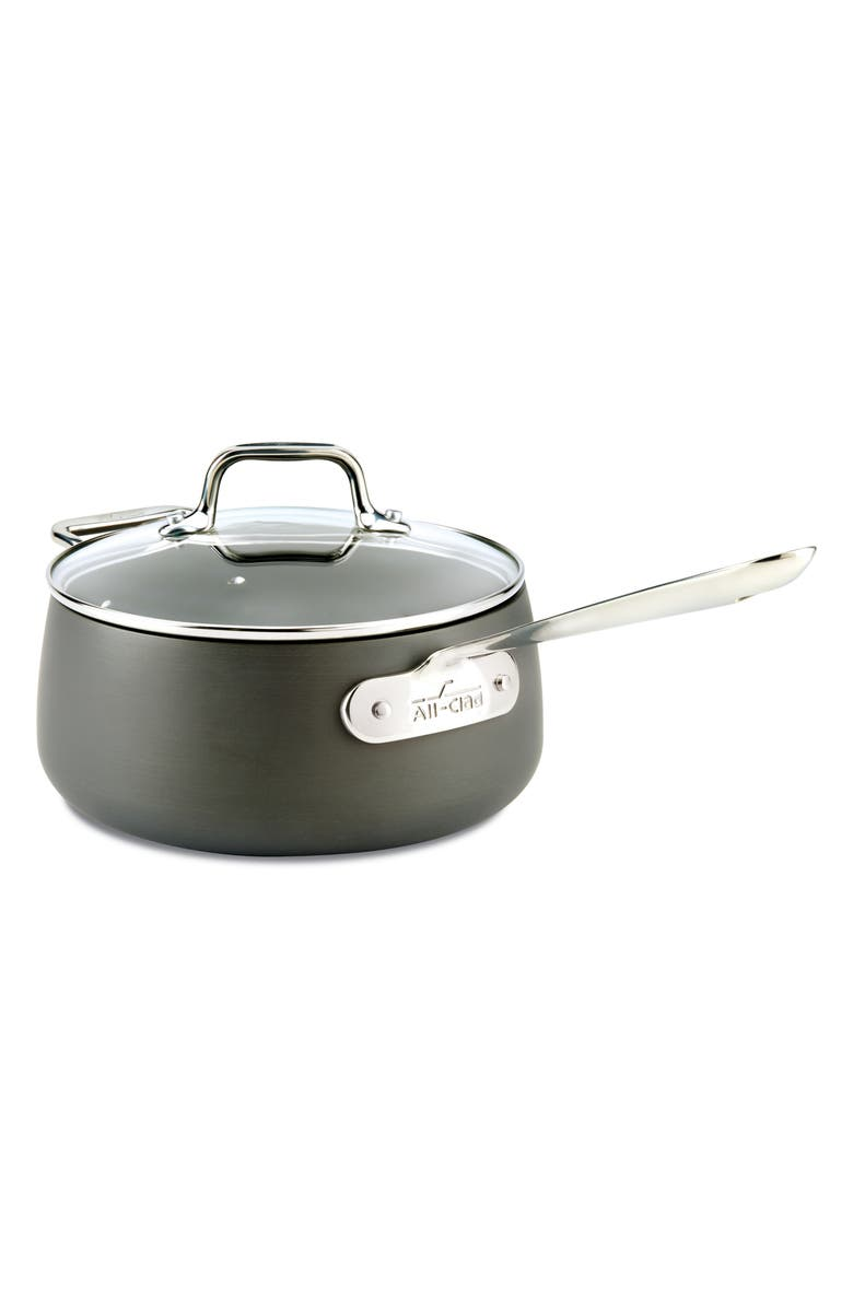 ALL-CLAD HA1 Hard Anodized 3.5-Quart Nonstick Saucepan with Lid, Main, color, 001