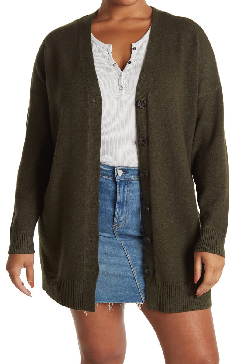 CYRUS Full Button Front Cardigan, Main, color, BURNT OLIVE