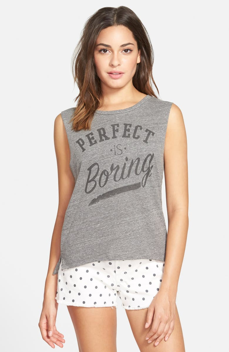 MALIBU NATIVE 'Perfect Is Boring' Graphic Muscle Tee, Main, color, HEATHER GREY