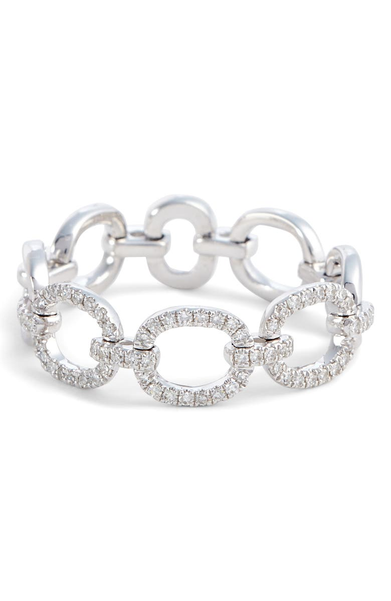 EF COLLECTION Flexible Chain Link Diamond Ring, Main, color, WHITE GOLD