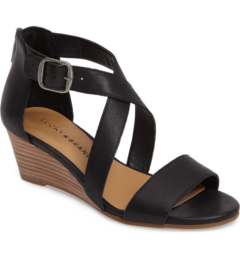 LUCKY BRAND Jenley Wedge Sandal, Main, color, BLACK LEATHER