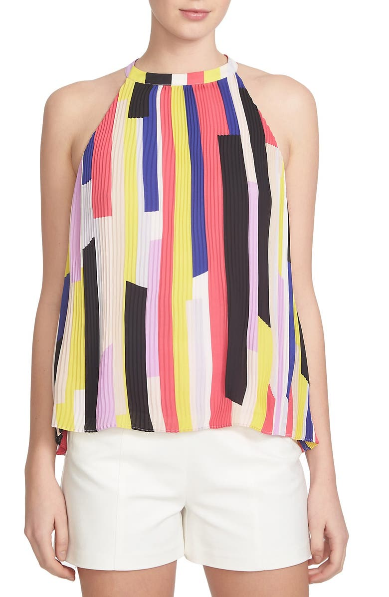 1.STATE 'Abstract Slices' Pleat High Neck Tank, Main, color, PURPLE PETAL
