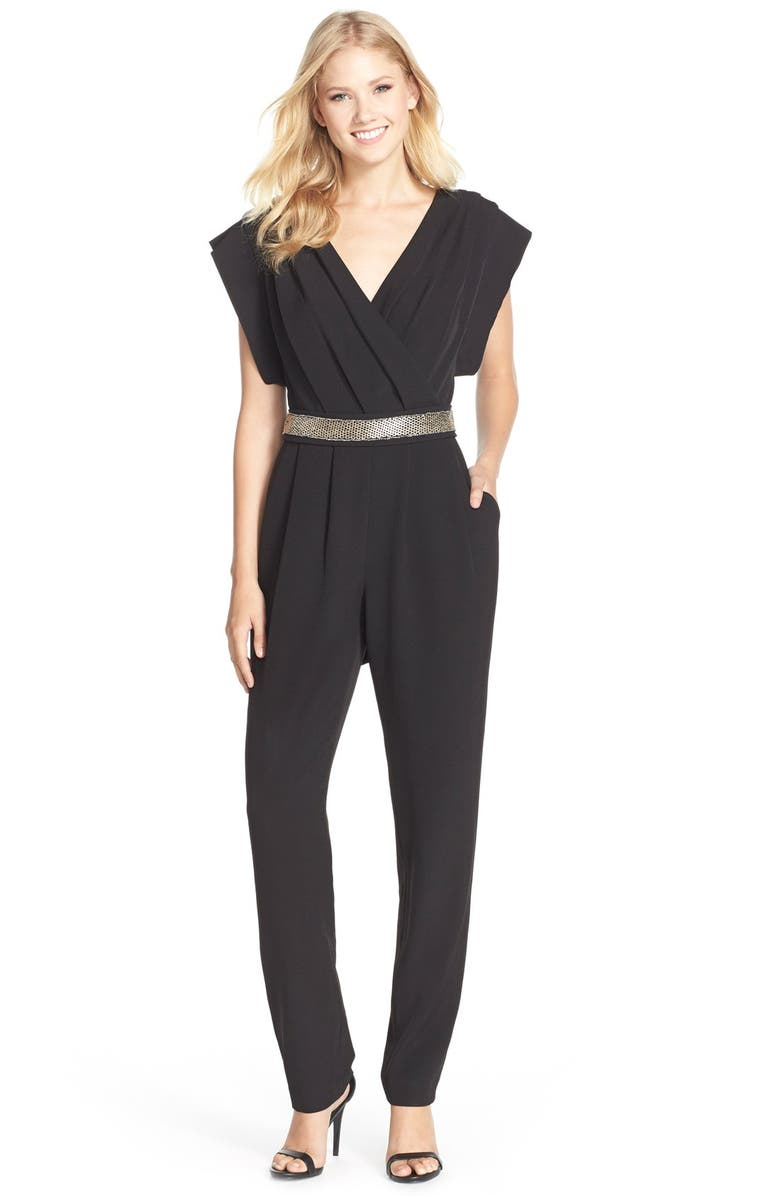 ELIZA J Belted Pleated Jumpsuit, Main, color, 001