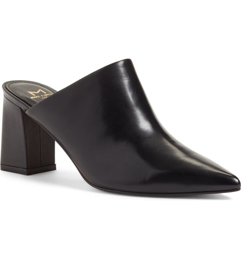 MARC FISHER LTD Zivon Pointy Toe Mule, Main, color, BLACK LEATHER