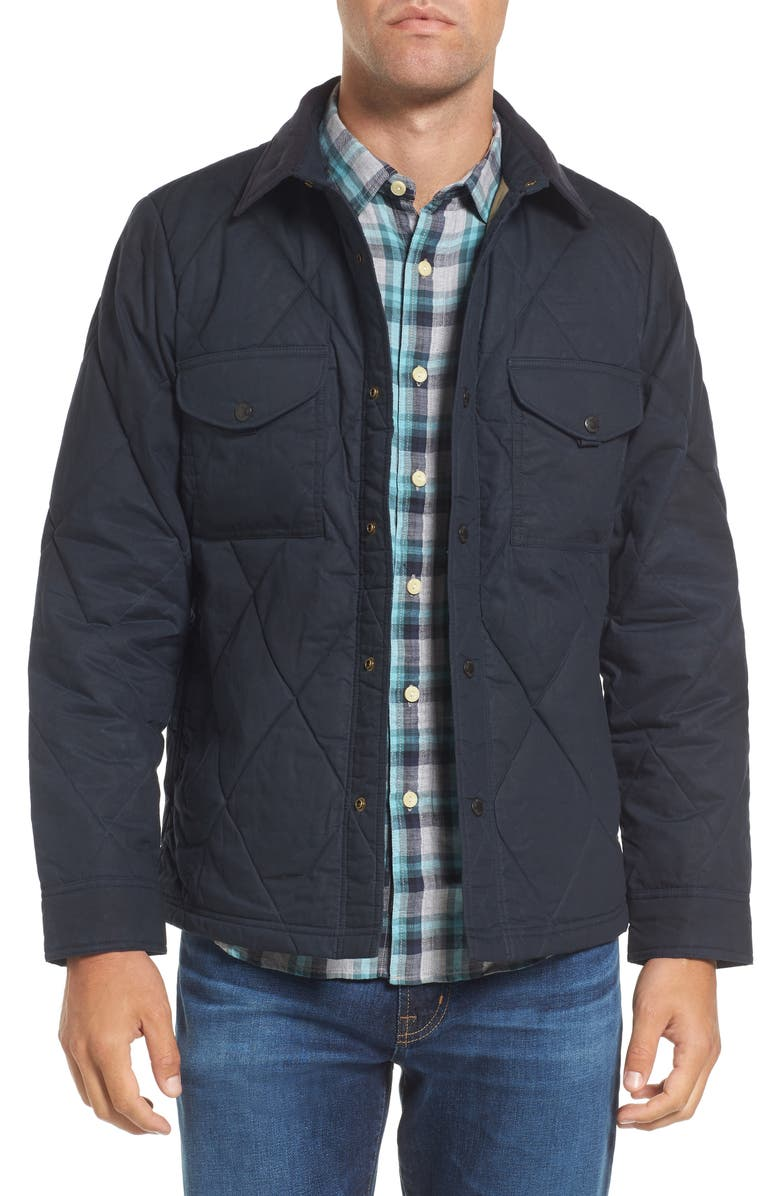 FILSON Hyder Quilted Water-Repellent Shirt Jacket, Main, color, FADED NAVY