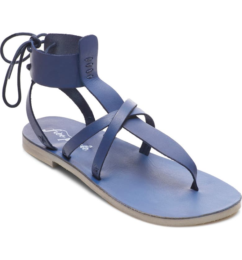 FREE PEOPLE Vacation Day Sandal, Main, color, DENIM BLUE LEATHER