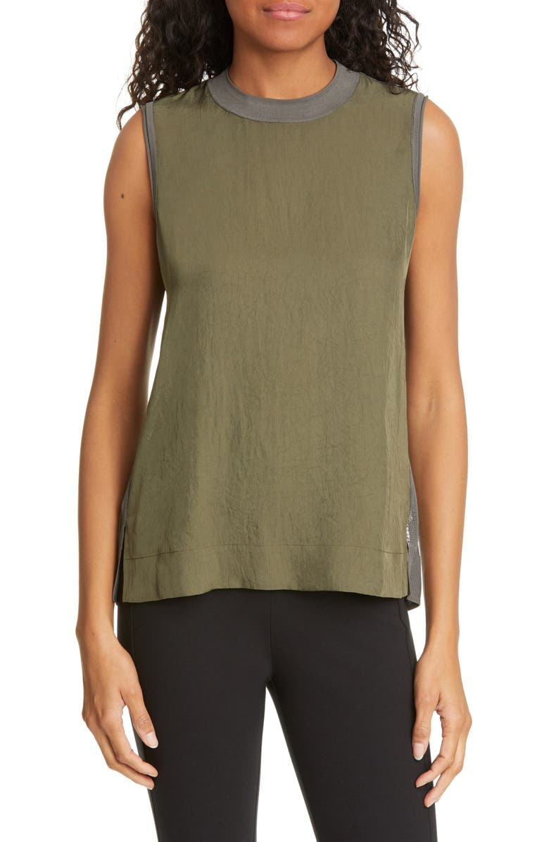 RAG & BONE Alisha Rib Openwork Back Tank, Main, color, OLIVE