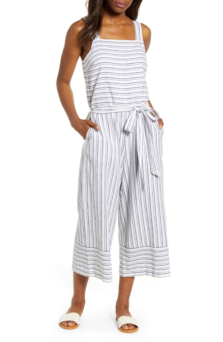 BEACHLUNCHLOUNGE Talia Stripe Cotton & Linen Jumpsuit, Main, color, 129