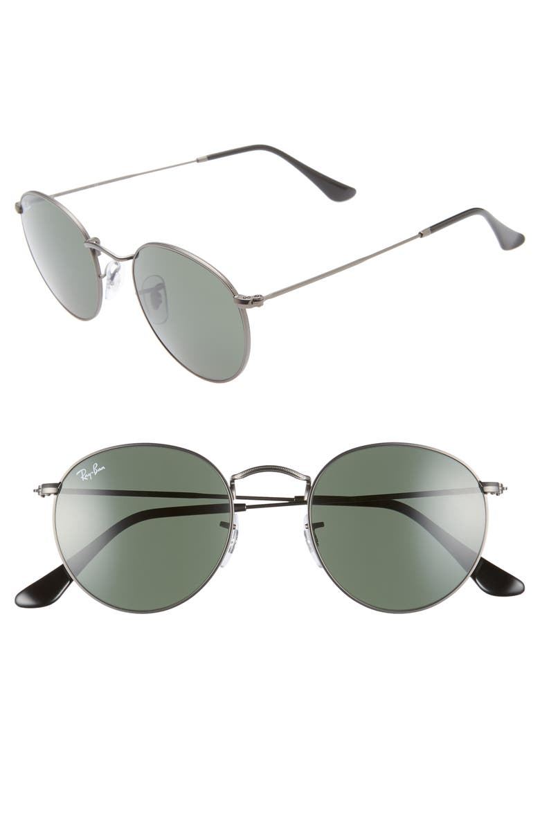 RAY-BAN Icons 50mm Round Metal Sunglasses, Main, color, GUNMETAL/ GREEN SOLID