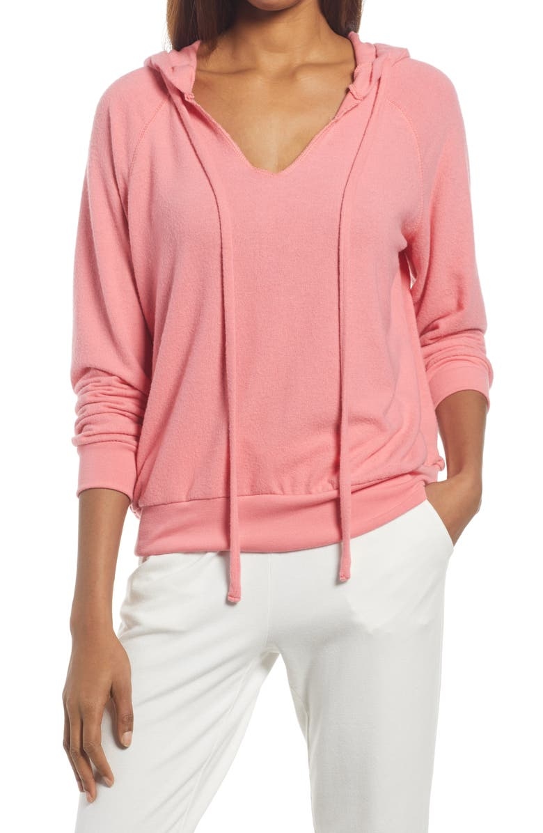 TREASURE & BOND Cozy V-Neck Hooded Sweatshirt, Main, color, PINK DUNE
